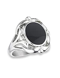 Large Wide Filigree Knot Black-Tone Oval Ring Stainless Steel Band Sizes 6-10
