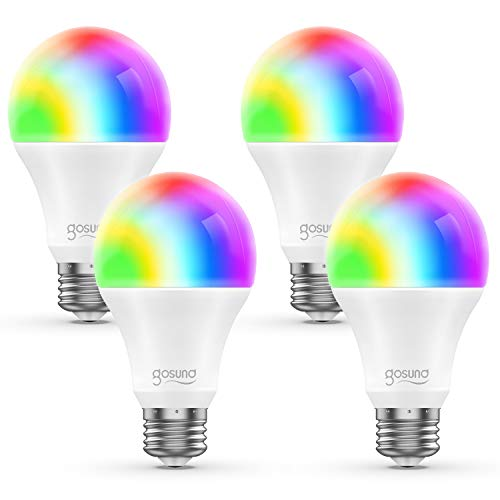 WiFi Smart Light Bulb Works with Alexa Google Home & IFTTT, Gosund A19 E26 LED Smart Bulb RGB Color Changing Dimmable, No Hub Required, Soft White (4 Pack) (Best Smart Bulbs For Google Home)