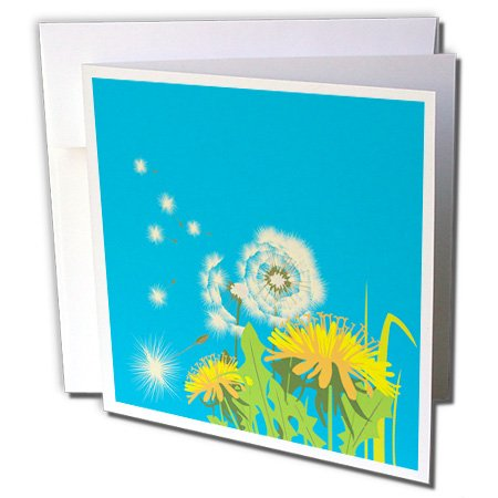 3dRose Lovely Dandelions Vector Floral Summer Design Greeting Cards, Set of 12 (gc_104492_2)