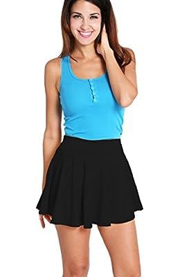 ACEVOG Women's Casual Basic Versatile Stretchy Waist Flared Mini Skater Skirt