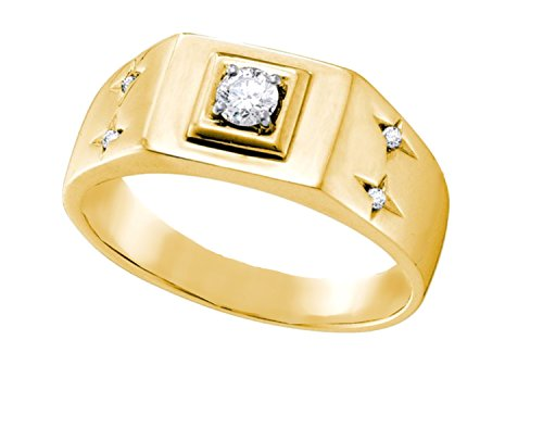 14K Yellow Gold Mens Diamond Solitaire Accent Ring 1/4 Ctw.