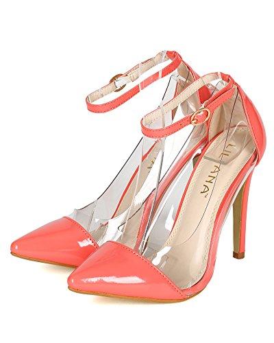 Liliana BB56 Women Patent Lucite Pointy Toe Stiletto Pump - Coral cqWFUKX