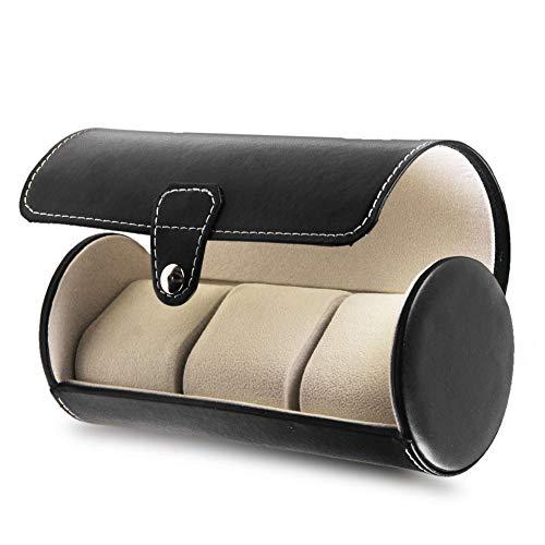 Travel Watch Storage Organizer Case for 3 Watches Leather Roll Black
