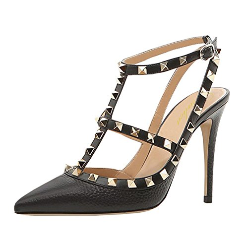 (Lutalica Women Sexy Ankle Straps Sandals High Heel Pointed Toe Studded Stiletto Black Lines Shoes Size 7.5 US)