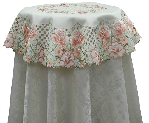 (Creative Linens Embroidered Rose Daisy Floral Cutwork Tablecloth 33