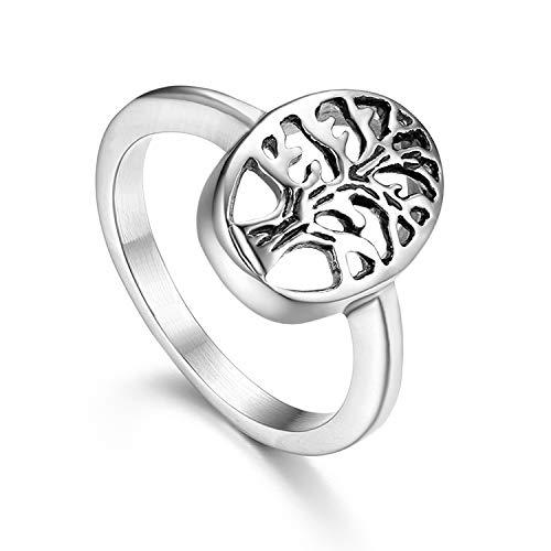 (Flongo Life Tree Band Ring, Women Men's Religious Stainless Steel Vintage Christmas Wedding Band,Life Tree Valentine Gift Turkish Jewelry Men Women)