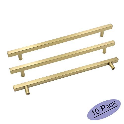 goldenwarm Brushed Gold Cabinet Pulls Door Handles Pulls for Cabinets - LS1212GD256 Brushed Brass Furniture Hardware Dresser Drawer Knobs Gold Bar Pulls 10in Hole Centers-Pack of 10