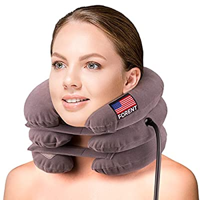 Inflatable Cervical Neck Traction Device & Collar Brace, USA Designed, Best for Neck Support & Instant Relief for Chiropractic Chronic Neck Pain, Spine Alignment, Adjustable Pillow Size, FDA Approved