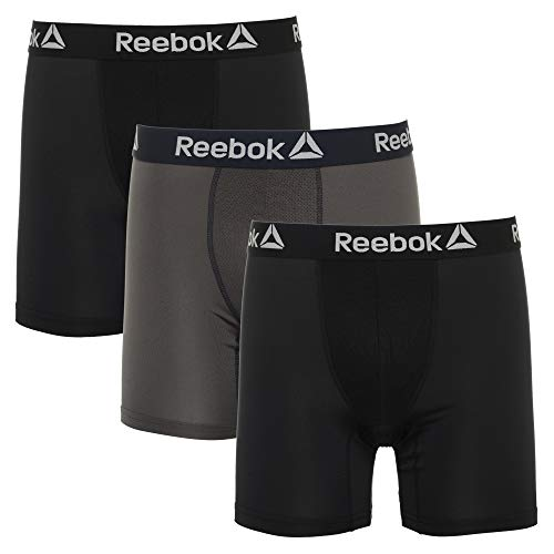 Reebok Mens 3 Pack Performance Boxer Briefs Black/Magnet/Black Small