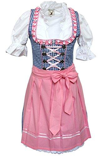 3tlg. Dirndl-Set - Trachtenkleid, Bluse, Schürze, Gr.36, blau-rosa - ALM627PE