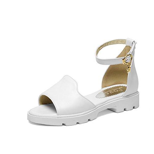 Hvit Tå Allhqfashion sandaler Hæler Kvinners Plattformer Spenne Åpen Lave Solide qqx4tpzTw