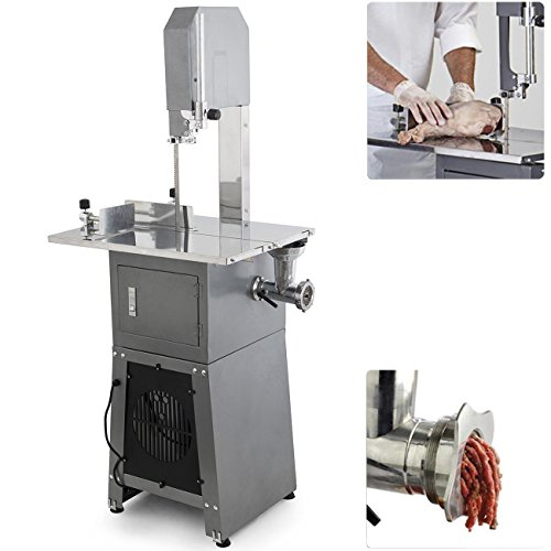 ARKSEN 2-in-1 Dual Electric Meat Band Saw & Meat Grinder Stainless Steel Sausage Attachment Freestanding, 550W, 3/4-HP