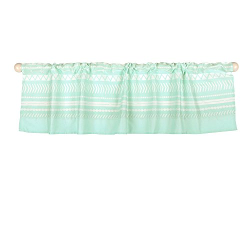 Green Tailored Valance - Mint Green Tribal Print Window Valance by The Peanut Shell - 100% Cotton Sateen