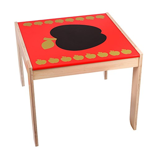 Delicate Labebe Wooden Activity Table Chair, Red Apple Toddler Table With  Chalkboard For 1