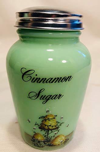 Round Blown Cinnamon Sugar Spice Shaker Jar - Jade Jadeite Green Glass ()