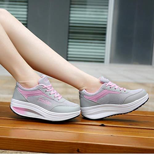 Verano Transpirables Aire de para Mujer Calzado QinMM Zapatillas Primavera Deportes Rosado Cordones con Running otoño Gym Zapatos Libre Mallas y paqXYg