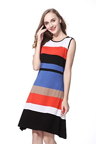 Women's Sleeveless Striped Knit Sweater Dress
