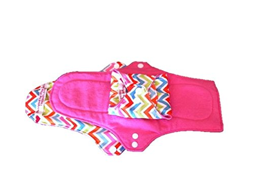 Slender Pads (3 Washable Cloth Menstrual Pads Pantiliner, Light, Heavy & Overnight Size! Waterproof, Sleek and Slender Yet Highly Absorbent and Stain Resistant! (Pink Chevron, Pantiliner))