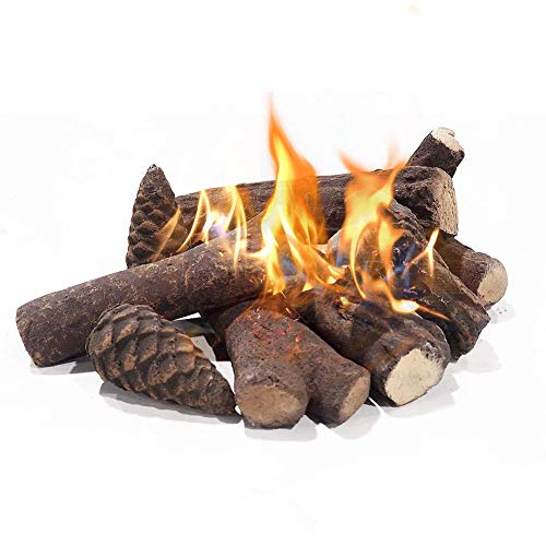 Cheap Fireplace Logs Ceramic Woods Decoration for Gas Ethanol Firewood Log Set Hand Crafted Pine Cones Wood Use in Indoor Ventless & Vent Free Electric Outdoor Fireplaces & Fire Pits & Realistic Black Friday & Cyber Monday 2019
