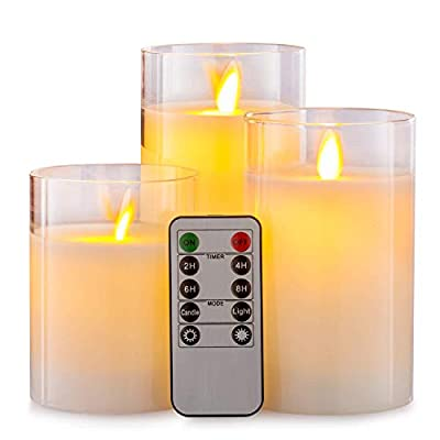 """Aku Tonpa Flameless Candles Battery Operated Pillar Real Wax Flickering Moving Wick LED Glass Candle Sets with Remote Control Cycling 24 Hours Timer, 4"""" 5"""" 6"""" Pack of 3"""
