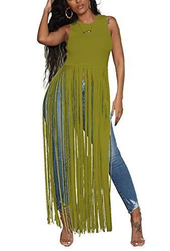 Women Summer Sleeveless Shirt Casual Flowy Tunic Tank Top Round Neck Peplem Hem Tassels Pullover Solid Stretch Crop Tops A Line Long Maxi Dresses Sundress Cocktail Wedding Green, Medium