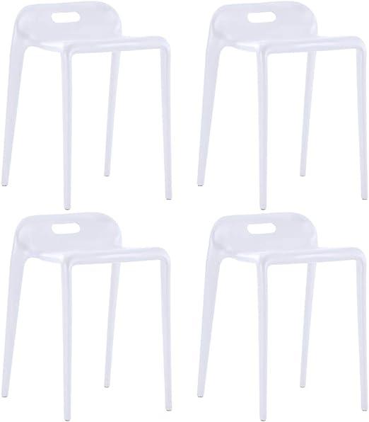 vidaXL 4X Taburetes Apilables Plástico Mobiliario Decoración Hogar Casa Terraza Patio Jardín Diseño Sencillo Elegante Estables Duraderas Útiles Blanco: Amazon.es: Hogar