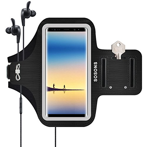 SOSONS Galaxy Note 8 Armband/S8 Plus Armband, Water Resistant Sports Gym Armband Case for Samsung Galaxy Note 8/S8 Plus with Card Pockets and Key Slot, Fits Smartphones with Slim Case, Black