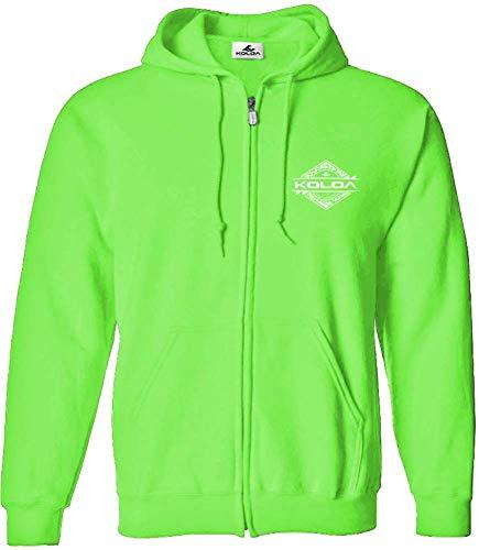 (Koloa Surf(tm) Diamond Thruster Logo Full Zipper Hoodie-Hooded Sweatshirt-Neongreen/w-L)