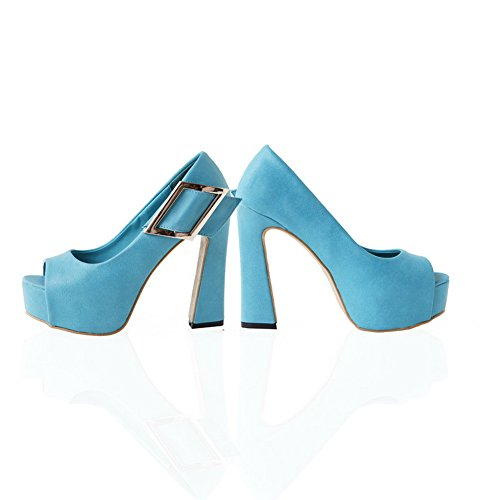 VogueZone009 Womens Open Peep Toe High Heel Platform Chunky Heels PU Solid Sandals, Blue, 4.5 UK
