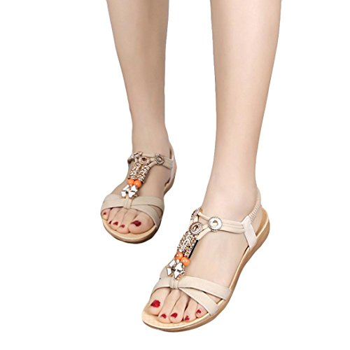 FORUU Women Sandals Elastic Strap Shoes Casual Shoes Sandals Comfort Sandals (41, Beige) (Sell Nike Jordan Shoes)