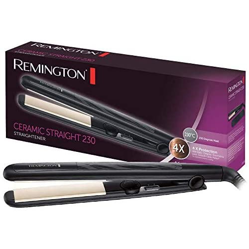 chollos oferta descuentos barato Remington Ceramic Slim S3500 Plancha de Pelo Cerámica Anti estática Protección y Brillo Placas Extra Largas Negro