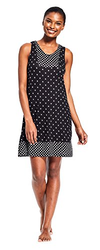 Kathy Ireland Womens Sleeveless V Neck Printed Pajama Nightgown Sleep Dormshirt Black Large