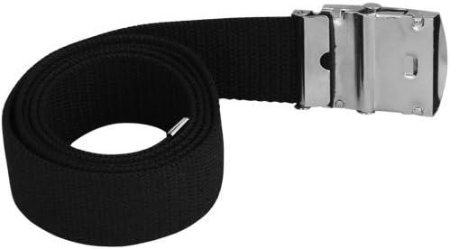 SunSunRise Mens Web Military Canvas Black Belt Metal Silver Buckle