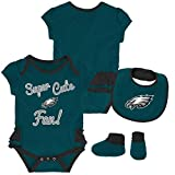 NFL by Outerstuff NFL Philadelphia Eagles Newborn & Infant Mini Trifecta Bodysuit, Bib, and Bootie Set Jade, 6-9 Months