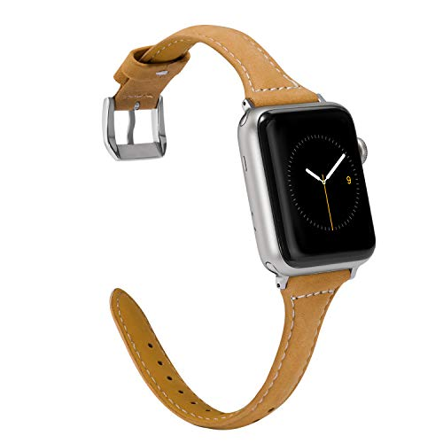 (Wearlizer Slim Leather Compatible with Apple Watch Band 38mm 40mm iWatch Womens Mens Sport Thin Strap Leisure Wristband Cool Replacement Bracelet with Silver Buckle Series 4 3 2 1 Edition-Scrub Brown)