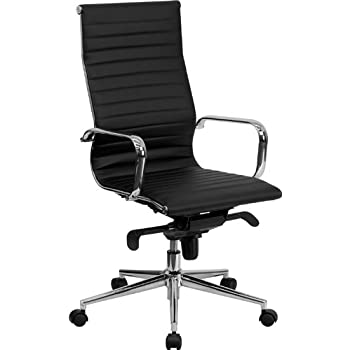 Flash Furniture High Back Black Ribbed Leather Executive Swivel Chair with Knee-Tilt Control and Arms