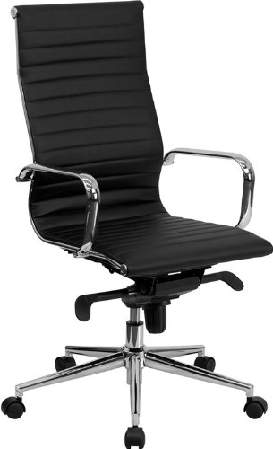 - Flash Furniture High Back Black Ribbed Leather Executive Swivel Chair with Knee-Tilt Control and Arms
