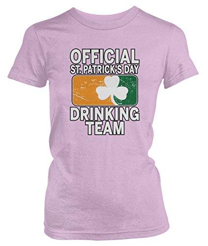 Amdesco Junior's Official ST Patricks Day Drinking Team T-Shirt, Light Pink Medium (Drinking T-shirt Light Team)
