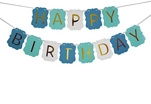 Brcohco Happy Birthday Banner BLUE GREEN WHITE Bunting with Shiny Gold Letters Party Supplies]()
