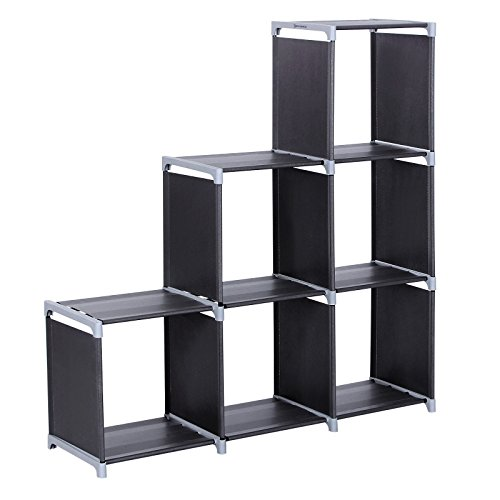 SONGMICS 3-tier Storage Cube Closet Organizer Shelf 6-cube Cabinet Bookcase Black (3 Tier Bookcase Shelf)