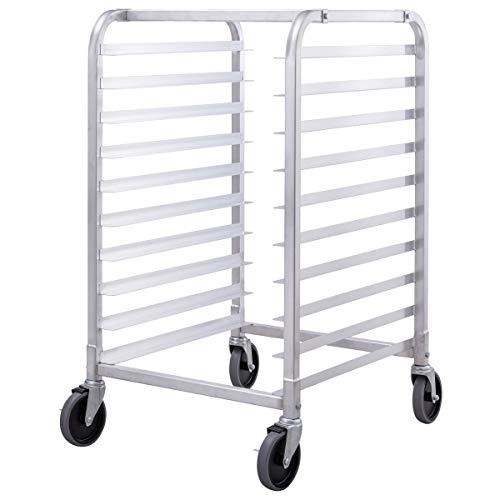 Silver Rolling 10-Sheet Aluminum Bun Pan Bakery Rack w/Ebook
