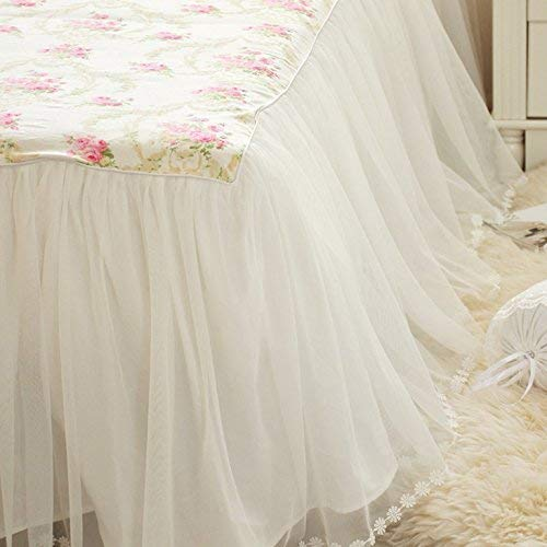 LELVA Beautiful Lace Ruffle Twin XL Bed Skirt Romantic Girls Bed Sheets Skirted Sheet by LELVA