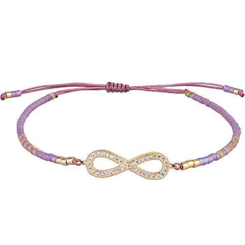 KELITCH Gold Infinity Icon Seed Beaded Bracelets Colorful Personalized Friendship Bracelets for Women Girl (Purple J)