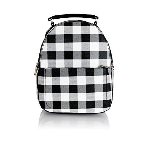 - Cute Gingham Plaid Vegan Leather Daypack- Mini Women's Travel Backpack Bag