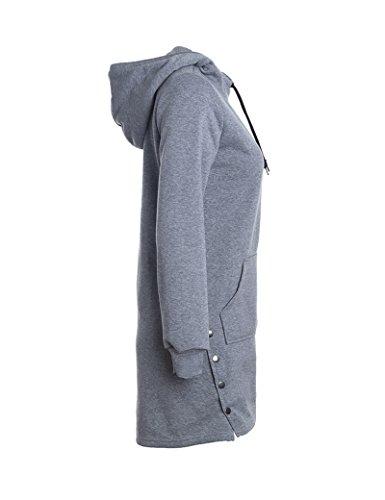 Largo lazo sólido moda-sudaderas de la mujer Gray XL