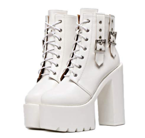 White shoes bar short belt boots Night DJ High and heels buckle stage 4PXgwnHxq