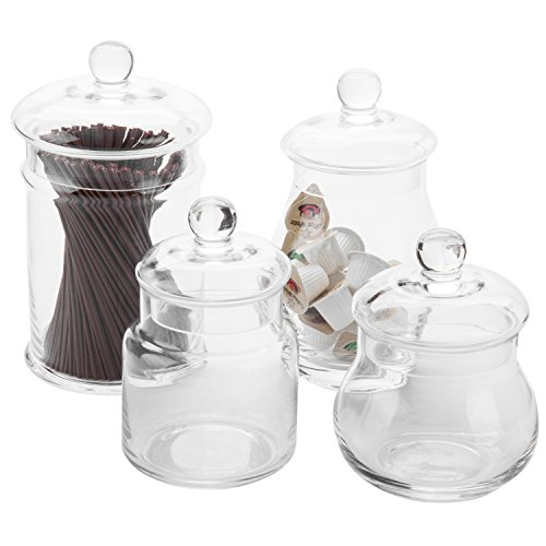 (MyGift Set of 4 Clear Glass Apothecary Jars with)