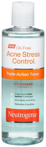Neutrogena Oil-Free Acne-Fighting Stress Control Triple-Action Facial Toner, Soothing and Refreshing Toner with Salicylic Acid Acne Medicine, Green Tea, and Cucumber Extract, 8 fl. oz