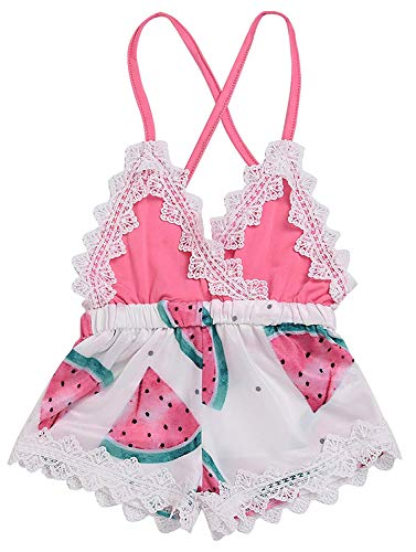 (Newborn Summer Toddler Baby Girl Clothes Cute Watermelon Print Lace Trim Backless Romper Shorts Jumpsuit (Watermelon, 6-12 Months(80)))