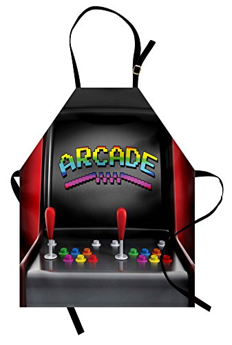 Ambesonne Video Games Apron, Arcade Machine Retro
